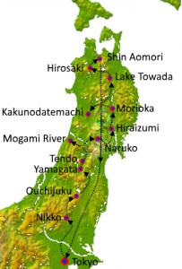 Tohoku Tour map